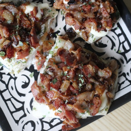 Baked Cod with Crispy Bacon + Onions