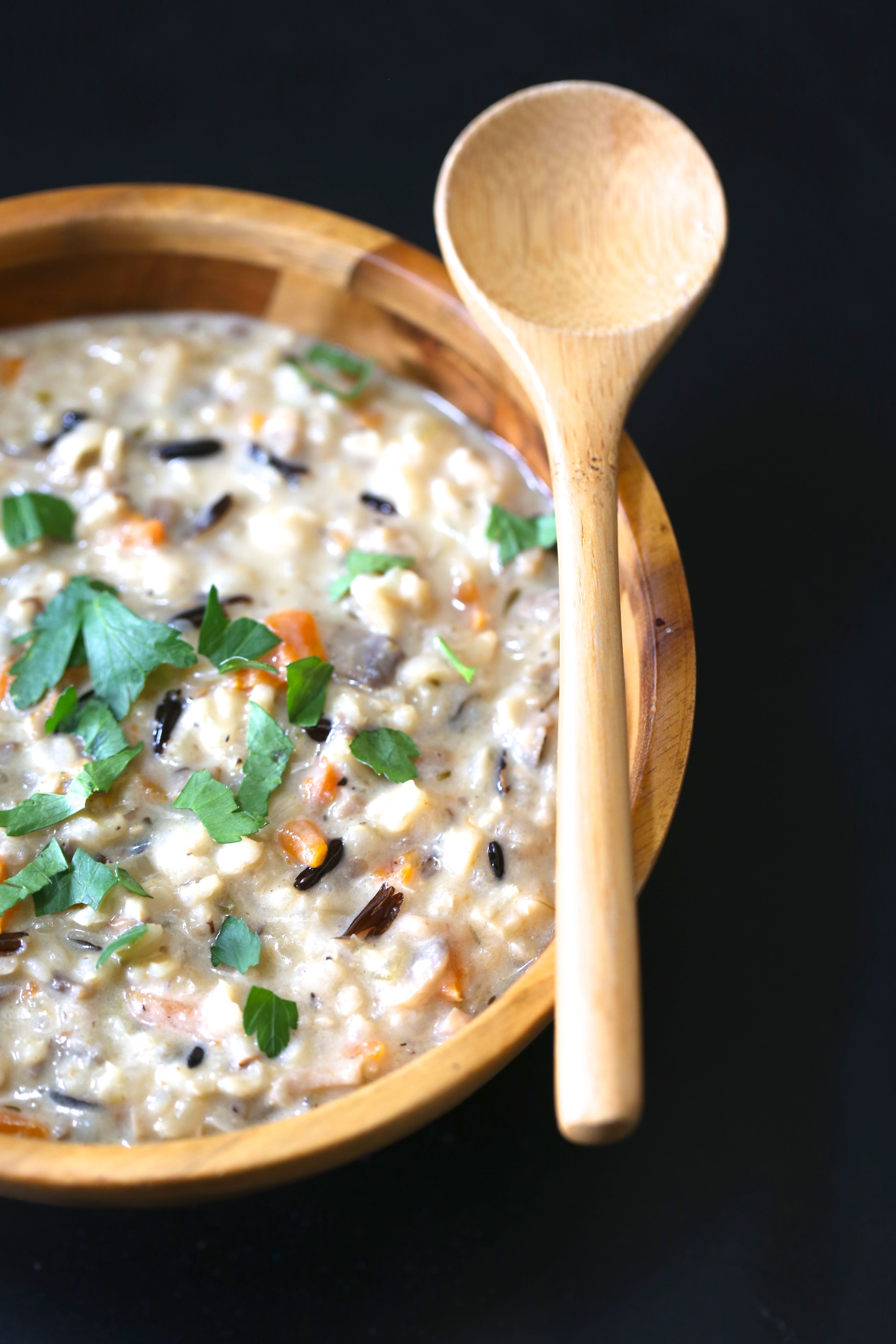 Instant Pot Dairy Free Mushroom and Wild Rice Soup