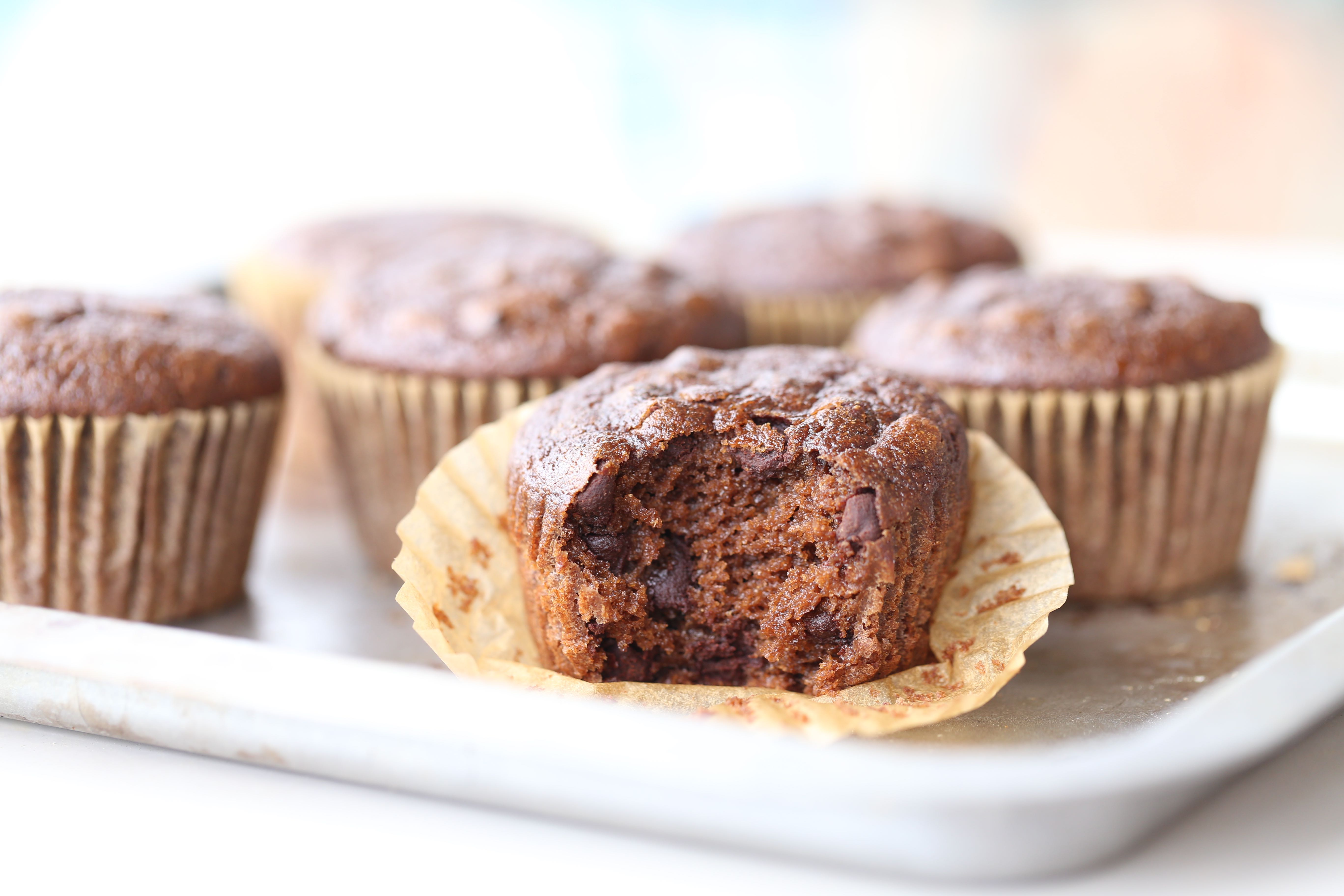 Paleo Mocha Chocolate Chip Muffins with Hidden Veggies