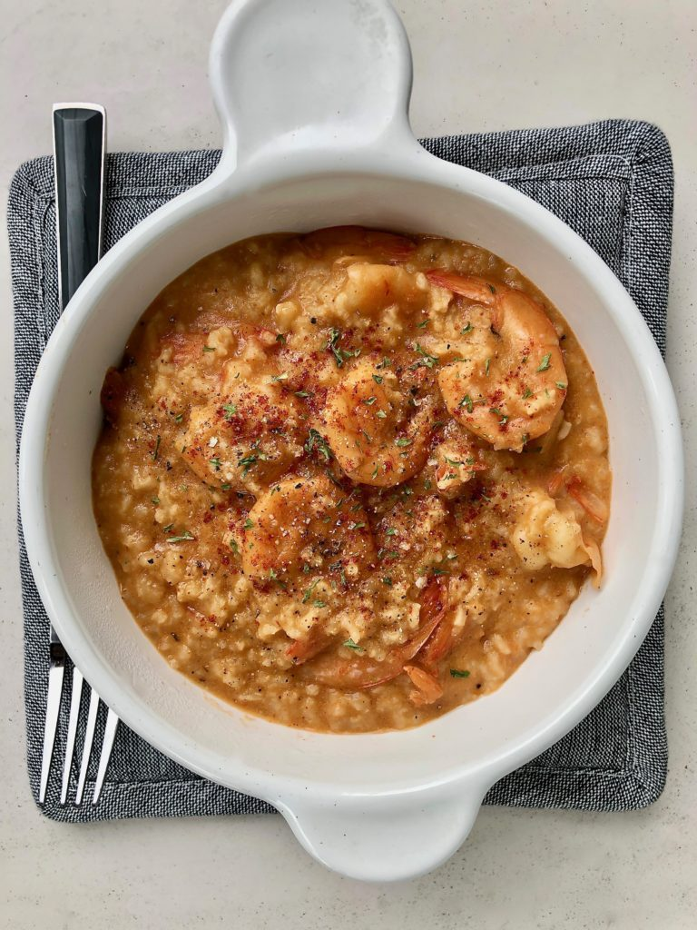 CREAMY INSTANT POT SHRIMP AND RICE