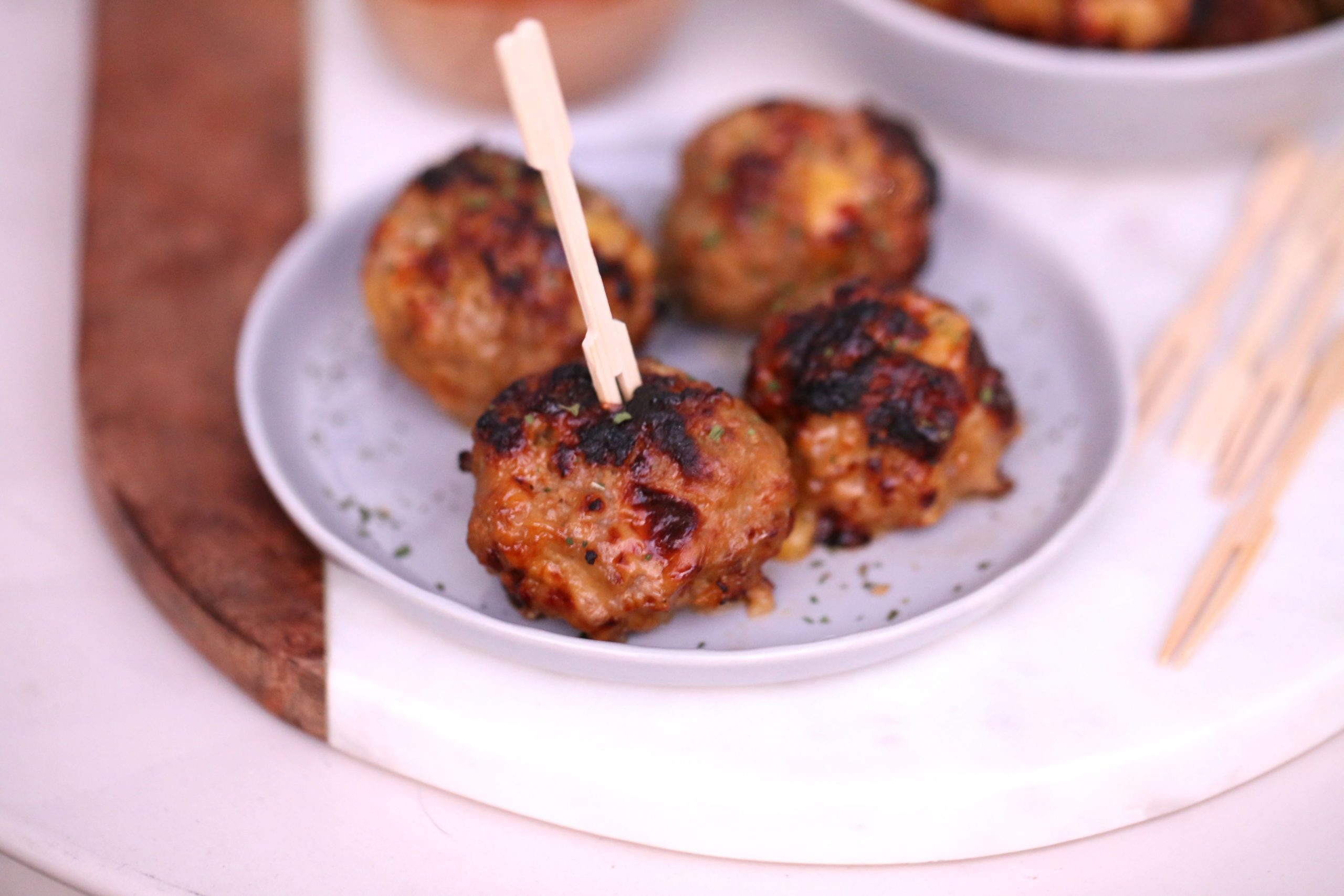 Air Fryer Cheesy BBQ Meatballs
